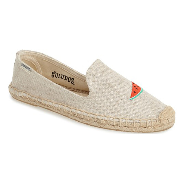 SOLUDOS espadrille slip-on - Fanciful embroidery takes center stage on an earthy slip-on...