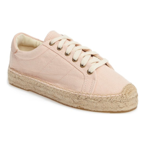SOLUDOS espadrille sneaker - A soft rose-pink sneaker with a jute-wrapped sole makes for...