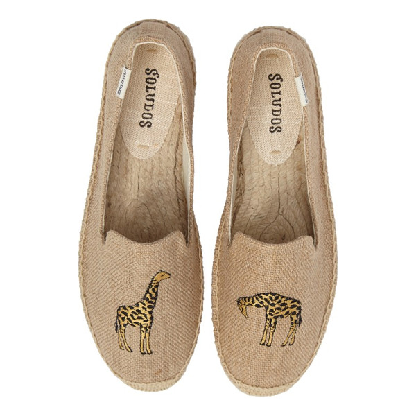 SOLUDOS giraffe espadrille flat - An embroidered giraffe adds a safari-inspired touch to an...