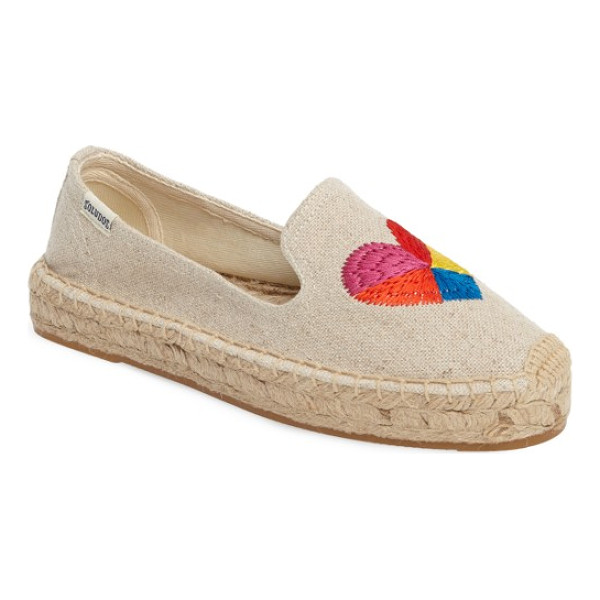 SOLUDOS heart embroidered espadrille - If you're not a heart-on-your-sleeve person, we suggest...
