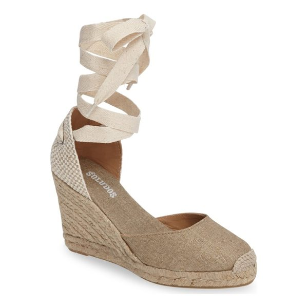 SOLUDOS wedge lace-up espadrille sandal - Woven laces gracefully wrap around the ankle of a chic...