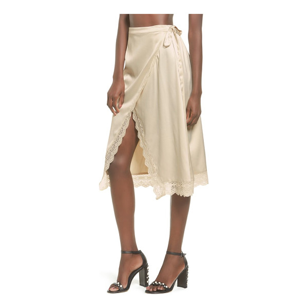 SOMEDAYS LOVIN know the night satin wrap skirt - Scalloped lace trims the edges of this decidedly romantic...