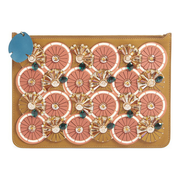 SOPHIE HULME Orange slice embellished clutch - A radiant array of stylized citrus slices-complete with...