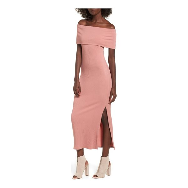 SOPRANO foldover off the shoulder ribbed maxi dress - Flaunt it in a finely ribbed maxi dress that offers flirty...
