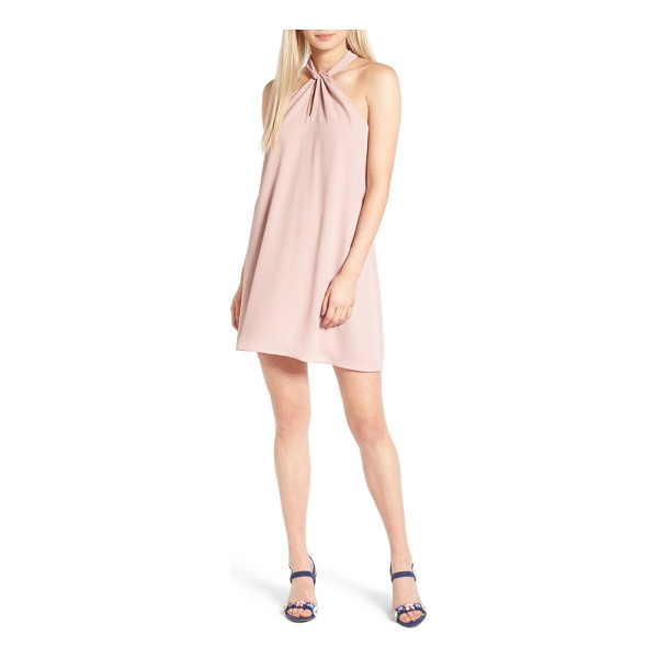 SOPRANO knotted high neck shift dress - A high, knotted neckline adds elegant embellishment to the...