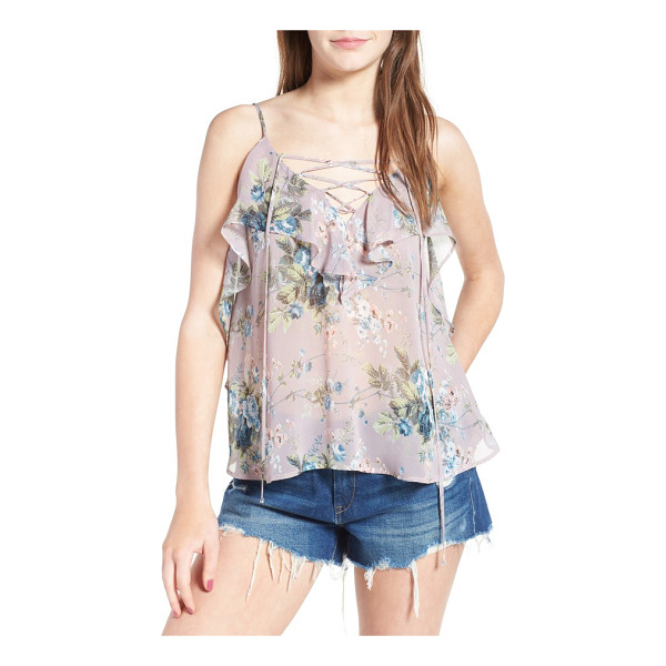 SOPRANO lace-up ruffle tank - Embrace the romance of the season in this pretty...