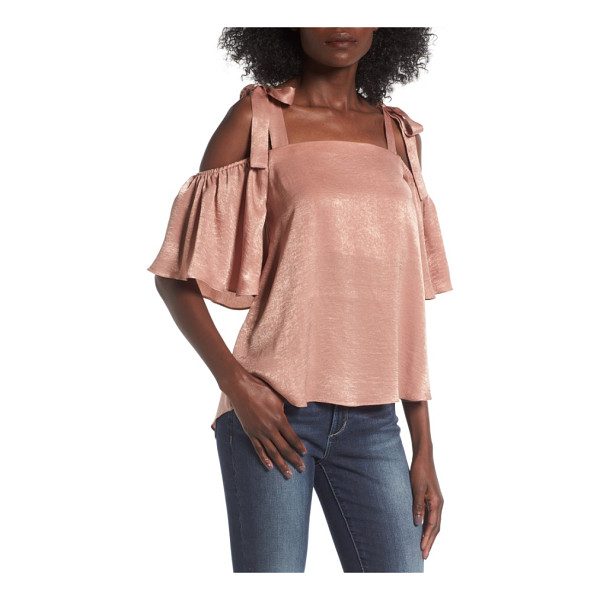 SOPRANO satin cold shoulder top - Cut from lightweight satin for a bit of shimmer and plenty...