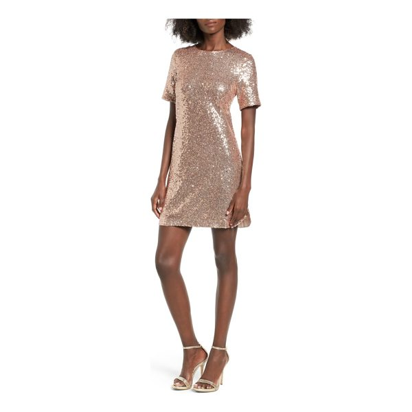 SOPRANO sequin t-shirt dress - Allover sequins add an otherworldly glow to a deceptively...