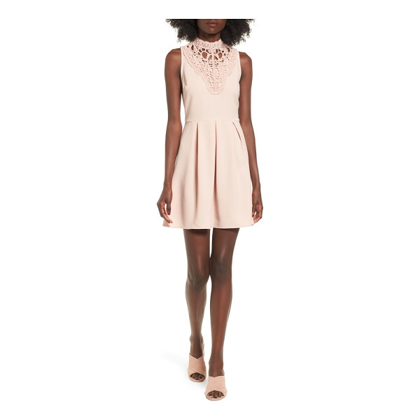 SPEECHLESS lace inset fit & flare dress - An intricate lace bib adds Victorian charm to a sweet...