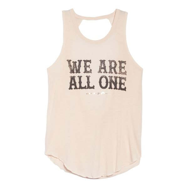 SPIRITUAL GANGSTER we are one studio tank - Get your Om on wearing this affirming graphic tank cut...