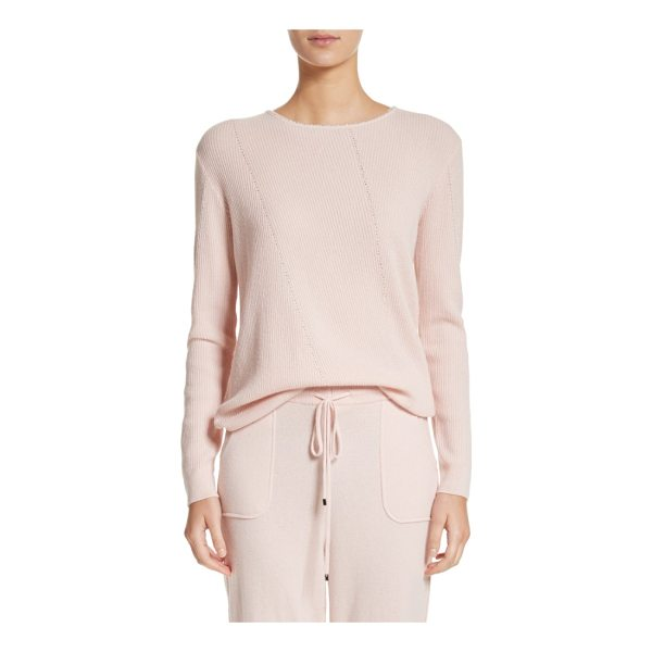 ST. JOHN cashmere sweater - Diamante trim adds face-framing sparkle to this cozy...