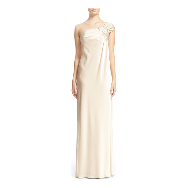 ST. JOHN embellished liquid satin one-shoulder gown - Hand-placed Austrian crystals and gilded studs spotlight...