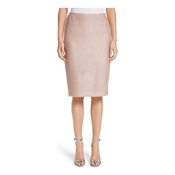 ST. JOHN frosted metallic knit pencil skirt - Slender silver threads add subtle sparkle to this...