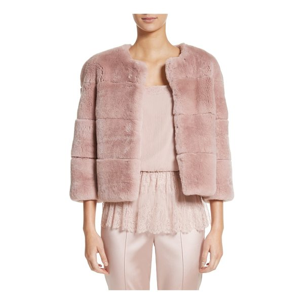 ST. JOHN genuine rex rabbit fur jacket - Grooved detailing accentuates the clean lines and decadent...