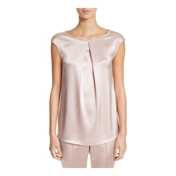 ST. JOHN pleated liquid satin top - A single front pleat softly structures a sleeveless blouse...