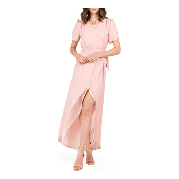 STANDARDS & PRACTICES robin wrap maxi dress - Notched tulip sleeves and a fluttery tulip hem enhance the...