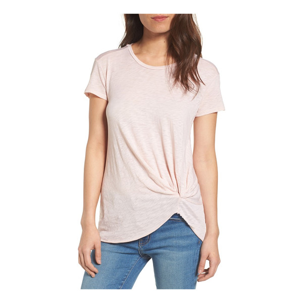 STATESIDE knot detail slub knit tee - An elegant knot detail twists at one side of this supersoft...