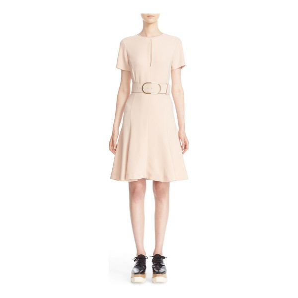 STELLA MCCARTNEY belted stretch cady dress - A pale rose hue and dainty keyhole cutout further the...