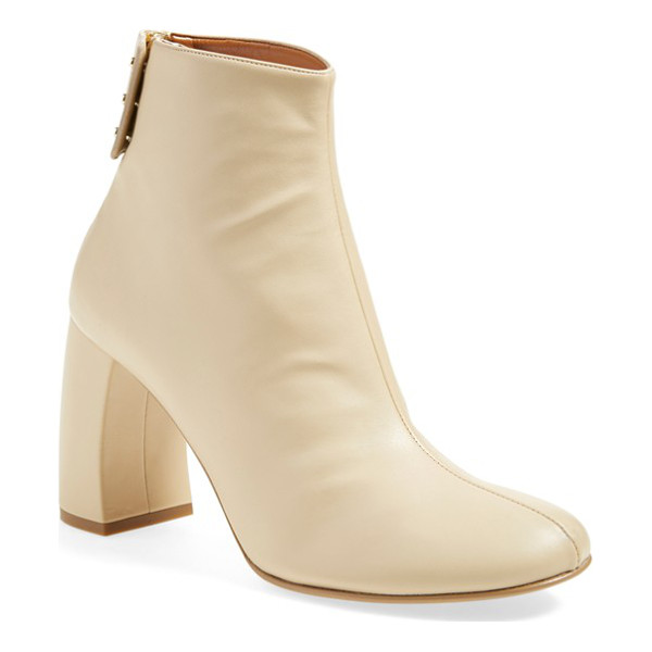 STELLA MCCARTNEY block heel ankle boot - A neat seam bisects the front of a modish ankle boot...