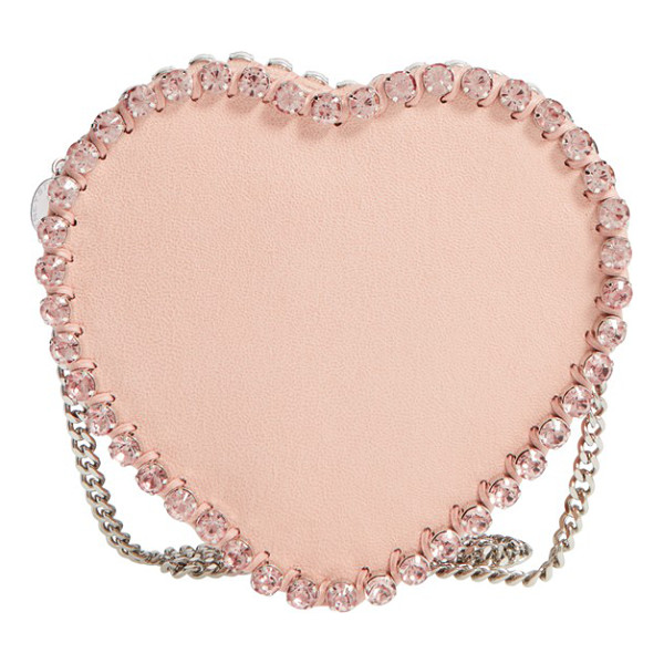 STELLA MCCARTNEY Falabella heart crystal embellished faux leather crossbody bag - Glinting pink crystals highlight the lovely silhouette of a...