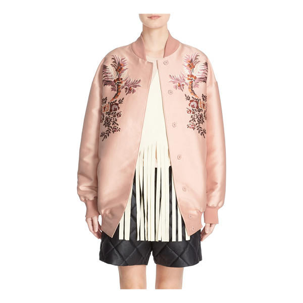 STELLA MCCARTNEY floral embroidered duchesse satin bomber jacket - With its soft, rosy hue, silken sheen and mirrored floral...