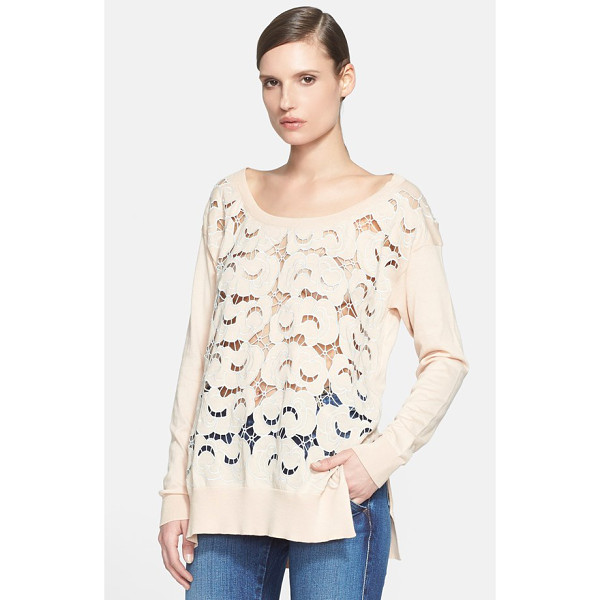 STELLA MCCARTNEY lace front cotton knit pullover - A scooped shoulder-skimming neckline furthers the easy...