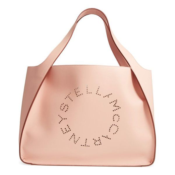 STELLA MCCARTNEY medium perforated logo faux leather tote - A perforated logo design subtly brands a lightly structured...
