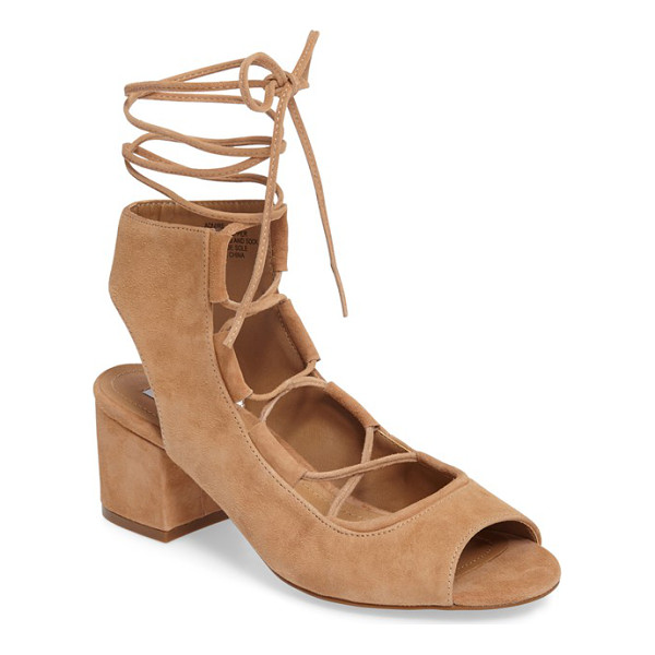 STEVE MADDEN admire block heel sandal - Ghillie-inspired lacing crosses the scooped-out top of a...
