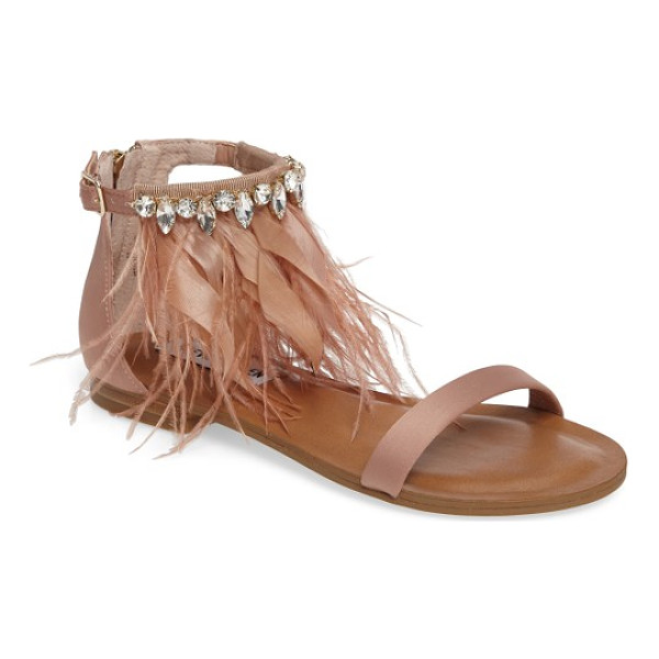 STEVE MADDEN adore embellished feather sandal - A band of crystals cinches a floaty cascade of feathers at...