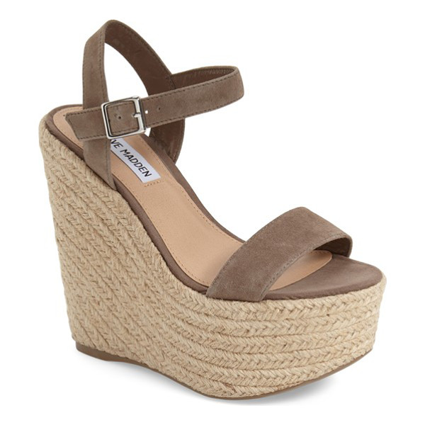 STEVE MADDEN alyssa espadrille wedge sandal - Ropy espadrille trim wraps the superchunky wedge and...