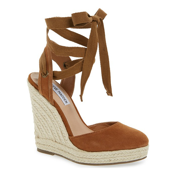 STEVE MADDEN barre espadrille platform wedge - Wraparound ankle laces balance orderly rows of braided jute...