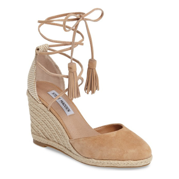 STEVE MADDEN bestow wraparound wedge - Layers of summery braided jute lift a suede-toe wedge that...