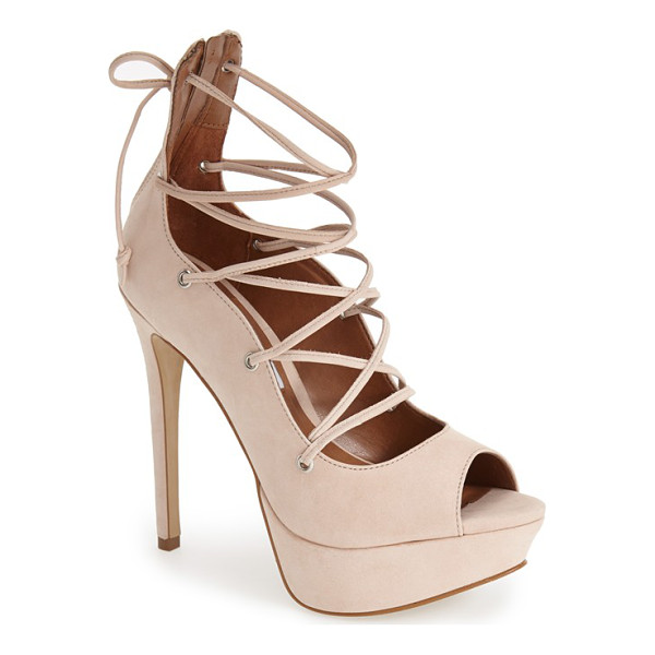 STEVE MADDEN bimmi lace-up pump - A peep-toe silhouette refreshes a leather cage pump taken...