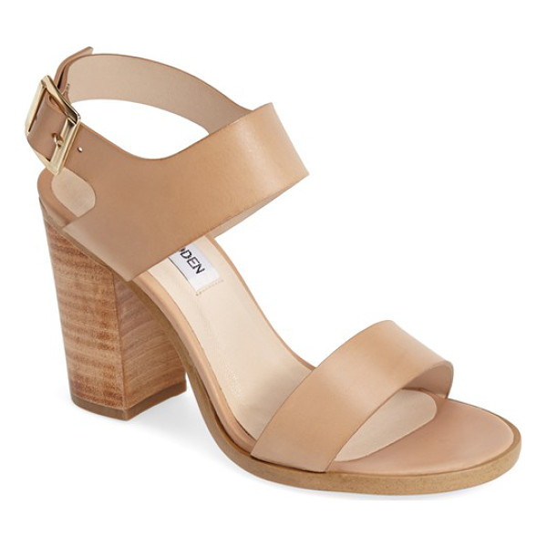 STEVE MADDEN blaair leather slingback sandal - A stacked woodgrain heel with a lightly distressed finish...