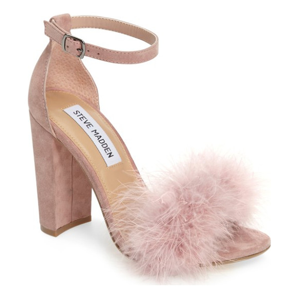 STEVE MADDEN carabu sandal - Soft feathers and a block heel update the look of an