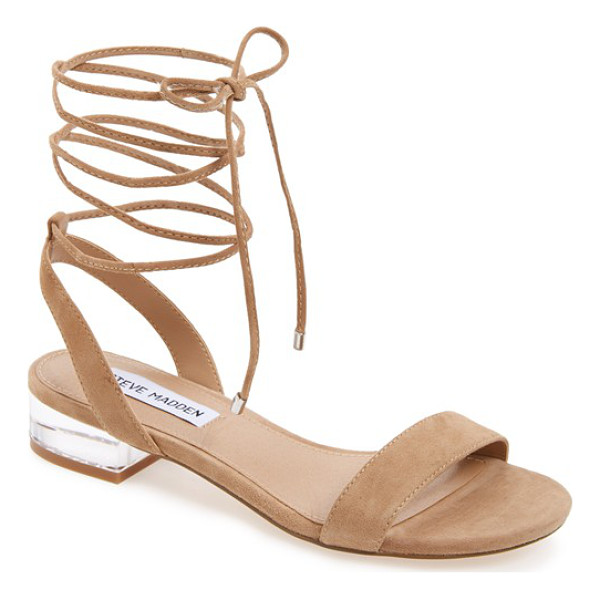 STEVE MADDEN 'carolyn' lace-up sandal - A gilt heel catches the light on a contemporary sandal...