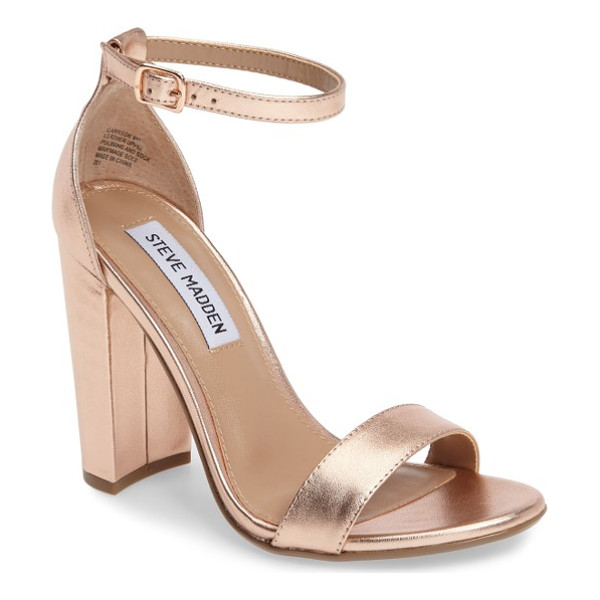 STEVE MADDEN carrson sandal - A minimalist ankle-strap sandal is set on a chunky heel....