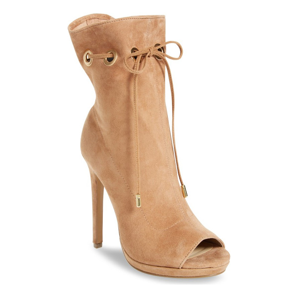 STEVE MADDEN cavalier open toe bootie - An ultra-slender suede band laces decoratively through the
