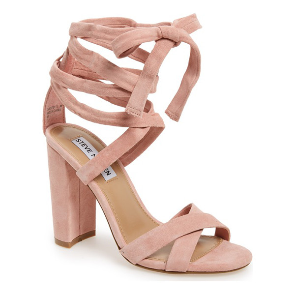 STEVE MADDEN 'christey' wraparound ankle tie sandal - A wrapped, half-moon heel grounds a trend-right suede...