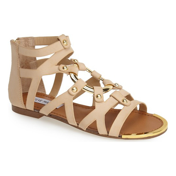 STEVE MADDEN cirrcle studded gladiator sandal - A golden ring forms the eye-catching centerpiece of...