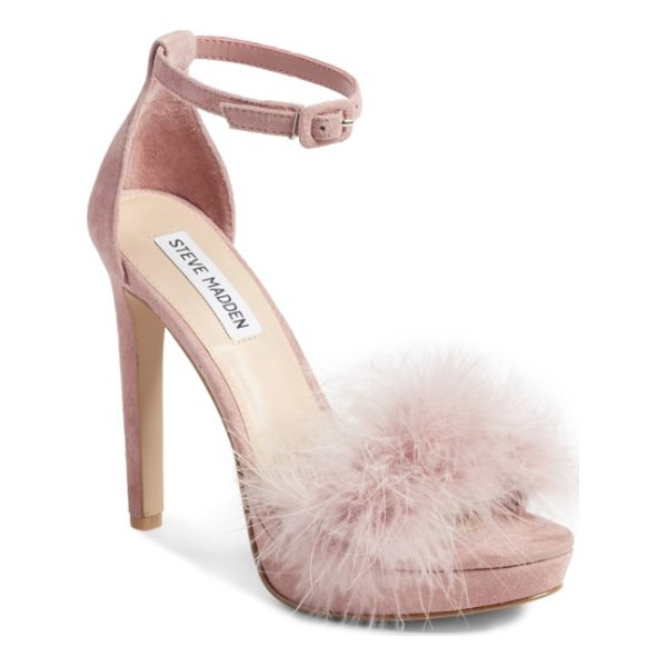STEVE MADDEN clutch ankle strap sandal - With a feathery strap and slim, sky-high heel, this sandal...