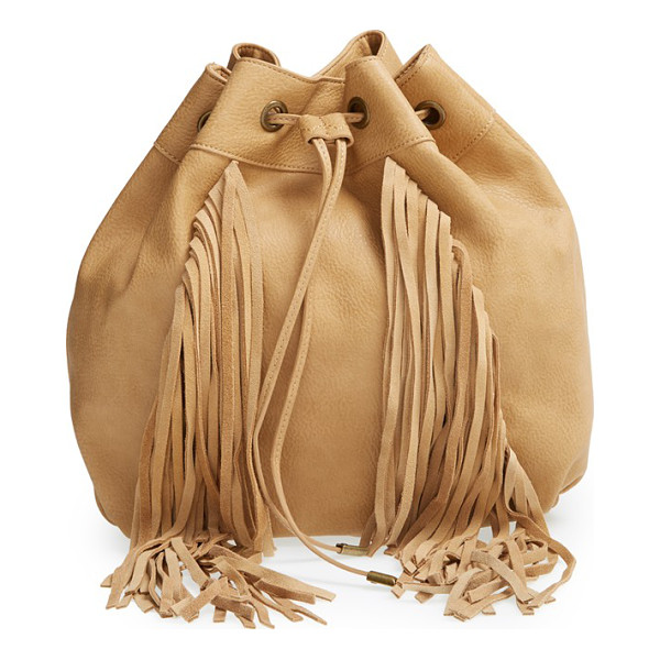 STEVE MADDEN Convertible drawstring backpack - 70s-inspired suede fringe extends the boho-chic appeal of a...