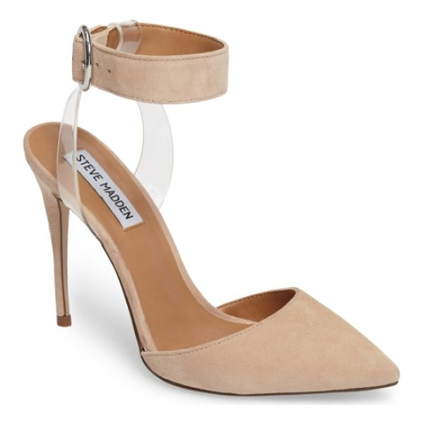 STEVE MADDEN diva pointy toe pump - A round-buckled strap floats above the ankle of a...
