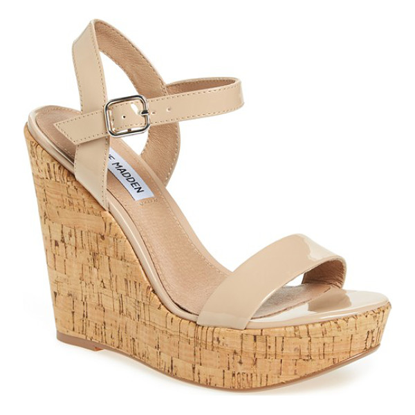 STEVE MADDEN ellina wedge sandal - A cork-like wedge and platform extend the trend-right...