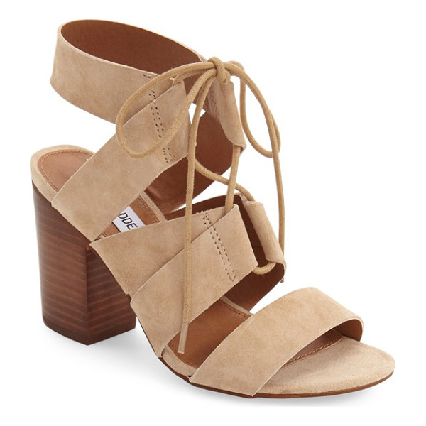 STEVE MADDEN 'emalena' ghillie sandal - Crisscrossed ghillie laces span the open top of a suede...