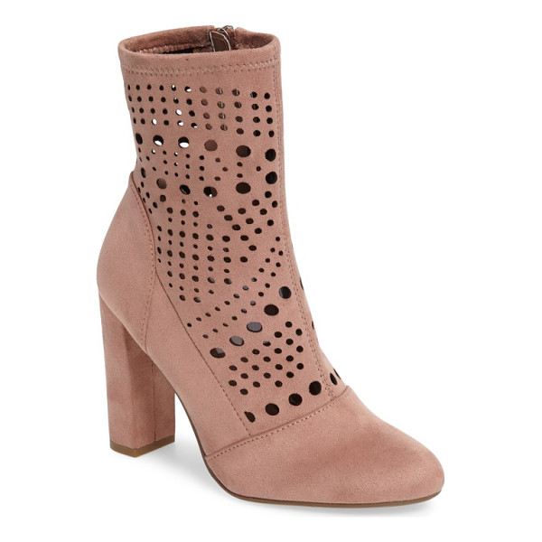STEVE MADDEN ennie perforated bootie - Waves of circular perforations enliven the soft, stretchy...