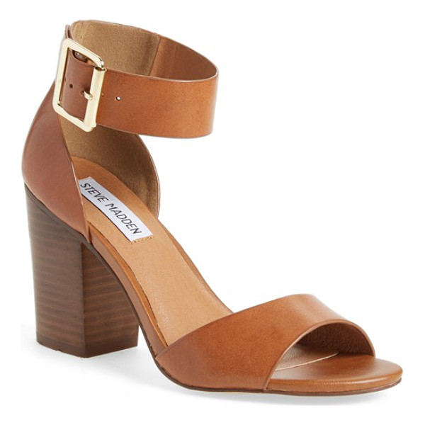 STEVE MADDEN estoria ankle strap sandal - A tall stacked heel and goldtone hardware further the...