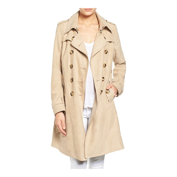 STEVE MADDEN faux suede trench coat - A double-breasted trench cut from velvety-soft faux suede...