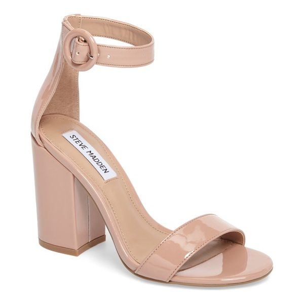 STEVE MADDEN friday sandal - A retro round buckle secures the slim ankle strap on a...