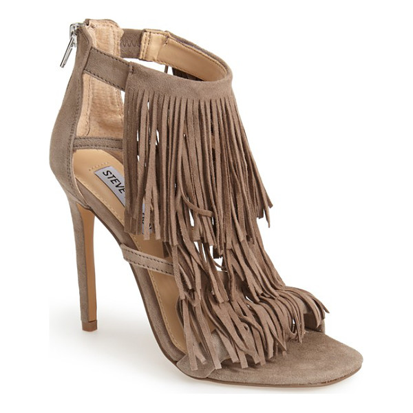STEVE MADDEN fringly sandal - Sweeping fringe lends soft bohemian allure to a lush suede...
